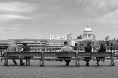 Lonely in London.... (markwilkins64) Tags: markwilkins streetimage streetscene candid streetphotography street couples lonely art lines clouds thames women men canon benches bench mono bw blackandwhite stpaul'scathedral southbank london