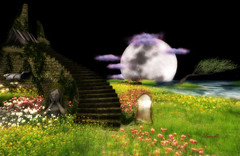 Only dreamers can hear the Moon whisper (Milla DelRay) Tags: spring moon stair statue mirror nature sl secondlife