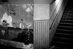 Japon gris, Japon qui s'ennuie (14 - Chemin distant) (www.danbouteiller.com) Tags: japan japon japonia japanese japonais oita city ville urban urbain street streetscene streetlife streets streetshot streetphoto streetphotography photoderue photo rue picture photography canon canon5d 5dmk2 5d 50mm 50mm14 5d2 5dm2 mono monochrome monochromatic black white noir blanc nb bw noiretblanc noirblanc filmnoir blackandwhite blackwhite blacknwhite contrast contraste dark darkness tag tags tague wall walls mur