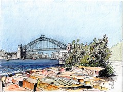 Millers Point looking north east (panda1.grafix) Tags: approved sydneyharbour millerspoint barangaroo inkandpencil sketch