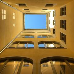 """Courtyard"" (helmet13) Tags: iphone8 courtyard dresden window windowreflection simplicity bluesky architecture aoi peaceaward flickheroes world100f"