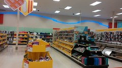 Seasonal department, with more calm blue neon (Retail Retell) Tags: cordova tn super target shelby county retail memphis p01 calm wavy neon p04 style signage halfremodeled store scrapbook décor