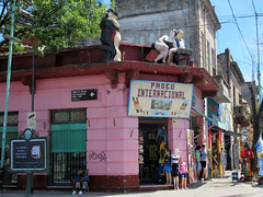 Paseo Internacional store, La Boca (jann.haemers) Tags: buenosaires argentina laboca paseointernacional store colorful building tango street shops shop streetview tourists touristic southamerica travel pink city ciudad