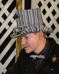 The Bar-code Top Hat (Steve Taylor (Photography)) Tags: tophat barcode spider bowtie goggles trellis steampunk insect fashion fence man newzealand nz southisland canterbury christchurch lines stripes