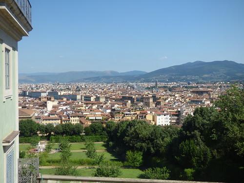 Florence skyline from Boboli Gardens - Kaffeehaus view: Palazzo di Giustizia and Firenze Santa Maria Novella railway station