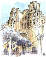 Málaga, side gate of cathedral (Luis_Ruiz) Tags: architecture drawing sketch urbansketchers cathedral carnetdevoyage baroque renaissance malaga spain andalusia illustration