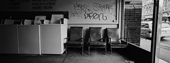 Crystal Clean i (@fotodudenz) Tags: hasselblad xpan film rangefinder 30mm ultra wide angle ilford xp2 super auburn hawthorn melbourne victoria australia 2018 chairs washing machines laundromat panorama panoramic