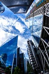 Skyscrapers (Derwisz) Tags: skyscraper skyline city cityscape cityoflondon england leadenhallbuilding leadenhall street buildings architecture reflections glass canon canoneos40d unitedkingdom uk blue thescalpel