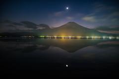 Serenity at Night (Yuga Kurita) Tags: fuji fujisan fujiyama san mt mount lake yamanaka yamanakako japan landscape nature moon night travel serenity calm tranquil sereme