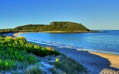 Looking towards Broulee island IV (elphweb) Tags: hdr highdynamicrange nsw australia seaside sea ocean water beach sand sandy brouleeisland island wave waves