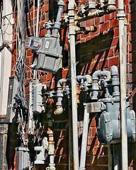 Pipes, Wires & Meters   An Alley Just Off The Square Marietta, Georgia (steveartist) Tags: lumixlx100 snapseed stevefrenkel alley brickwall watermeters gasmeters snapseedfilters eletricserviceboxes wires telephoneinternetserviceequipment raingutters