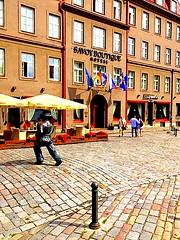 Savoy Boutique Hotel, Tallinn, Estonia. (dimaruss34) Tags: newyork brooklyn dmitriyfomenko image estonia svetlanafomenko tallinn street cobblestone statue hotel savoyboutiquehotel people