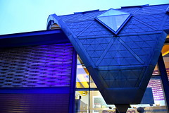 carapace (Harry Halibut) Tags: 2017©andrewpettigrew allrightsreserved imagesofsheffield images sheffieldarchitecture sheffieldbuildings colourbysoftwarelaziness sheffield south yorkshire sheff1701187370 moor markets twilight dusk blue yellow red roof structure triangles hexagon glass brick wood lattice woven weave carapace
