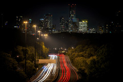 Passages (Paul Flynn (Toronto)) Tags: toronto dvp don valley parkway highway road street lights night long exposure city downtown buildings depth midnight trail dark