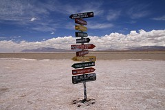Salinas Grandes, which way to go (blauepics) Tags: argentina argentinien jujuy province provinz provincia nord north andes anden landscape landschaft berge mountains valley tal colours farben clouds wolken salinas grandes road strasse signs schilder direcction richtung cities städte