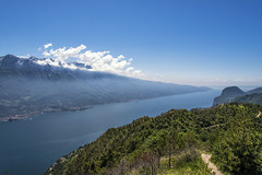 Where the Alps begin (mystero233) Tags: alps hills beginning mountains lake water clouds mist fog italy lagodigarda garda europe trip hike landscape outdoor outside nature green blue