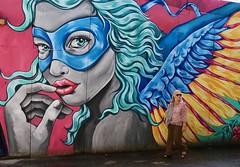 There is a hero in every woman. (Alex L'aventurier,) Tags: copenhagen copenhague danmark danemark street rue city ville urbain urban art graffiti murale couleurs colours colors women femme candid wall mur
