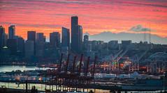 Seattle Sunrise Cityscape Canon on Sony (www.mikereidphotography.com) Tags: seattle sunrise canon 200mm sigma city skyscraper sky skyline