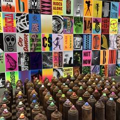 IMG_2062 (lnewman333) Tags: losangeles ca usa dtla downtownlosangeles chinatown socal southerncalifornia beyondthestreets streetart graffiti artexhibit retrospective fuyuaninternational warehouse art colorful spraypaint cans posters