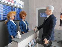 3 Heading back to NY (Foxy Belle) Tags: doll dollhouse miniature diorama airport work barbie uniform vintage gray american airlines business madmen roger sterling silkstone playscale ooak 16 scale 1960s