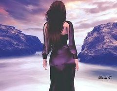 Purple haze (Enya T.) Tags: purple outdoor horizon seashore rocks enya avatar secondlife sl sunset water sky ocean