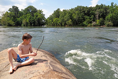 Rock Star (FAIRFIELDFAMILY) Tags: jason taylor fairfield county sc south carolina broad river west columbia city rapids water swimming father son carson grant rock rocks adventure explore exploring michelle mother splash running child young boy sliding outside nature kayak kayaking white