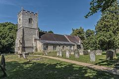 Stetchworth parish church (David Feuerhelm) Tags: church tower churchyard cemetery gravestones graves green summer blue stechworth suffolk england old historic history nikon wideangle 2470mmf28
