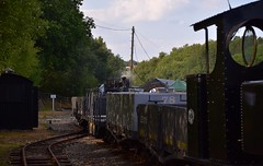 Hunslet WD No.303 sits behind Baldwin No.778, water tanker & bogie opens. Tracks to the Trenches, Apedale Railway. 14 07 2018 (pnb511) Tags: trains locomotive railway steam engine baldwin 778 narrow gauge 2footgauge trackstothetrenches ww1 apedalelightrailway narrowgauge staffordshire hunslet loco wd 460 303 1215