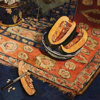 Georgette Agutte, 1867-1922, Nature morte aux pastèques, vases et tapis, détail, musée des Beaux-Arts de Grenoble