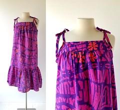 1970s purple and orange batik print sundress, from Katz (Small Earth Vintage) Tags: smallearthvintage vintagefashion vintageclothing dress 1970s 70s sundress katz purple orange batik muumuu caftan