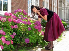 Snif-snif (Paula Satijn) Tags: dress skirt girl lady elegant classy sun sunshine outside gown smile happy joy sweet red burgundy metallic shiny satin silky flowers garden