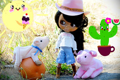 the morning yoga 😊 (sugarelf) Tags: typlush factoryblythe petpiggies goodmorning brielle cowgirl grapefruit doll myillustration exercise stretch yoga sunshine cactuswithwatermelon sunshinewithicecream wildwest pig culottes july pet