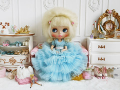 Baby Blue Princess (Cossette...) Tags: blythe doll rbl cossette dress outfit petticoat ruffles tulle mohair set dog maltese suzygosse susygoose sindy barbie rement babyblue