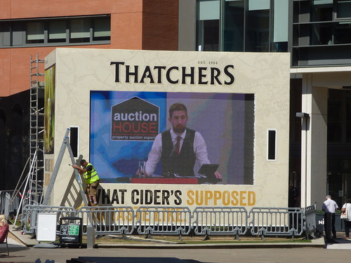 Thatcher's Cider screen at Central Square, Brindleyplace