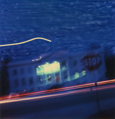 Courthouse Blues (tobysx70) Tags: polaroid sx70 sonar emulsion manipulation time zero tz instant film courthouse blues north edwards street highway hwy 395 independence inyo county california ca blue hour night twilight motion blur lighttrails stop sign toby hancock photography