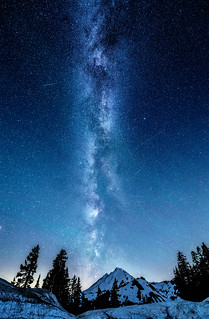 The Milky Way, meteors and Northern Lights above Mt. Baker, Mount Baker-Snoqualmie National Forest, Washington State