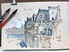 Hôtel de Ville, Paris. (alexhillkurtzart) Tags: watercolor urbansketch usk paris