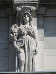 Mysterious Woman Dame Autumn Caryatid NYC 5419 (Brechtbug) Tags: mysterious woman dame autumn caryatid stone ladies courthouse roof statues across from madison square park new york city atlantid 2018 nyc 07152018 art architecture gargoyle gargoyles statue sculpture sculptures facade figures column columns court house law government building lady women figure form far east buildings season seasons fall