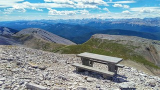 Mountain top empty bench