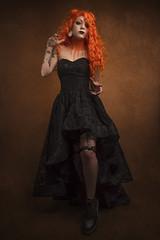 Regan (Wurmwood Photography) Tags: beauty orange halloween portrait female woman dress black lace blackdress hair makeup tattoos gothic goth fantasy creative gels ocf flash nikon fovitec godox fashion fall autumn lovely