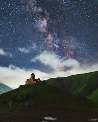 Gergeti Church at midnight (kle1n) Tags: milkyway georgia caucasus nightsky church landscape mountain sky