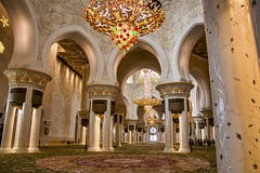 Chandeliers in the mosque, Sheikh Zayed Mosque, Abu Dhabi (Jim 03) Tags: sheikh zayed grand mosque abu dhabi capital united arab emirates worship eid prayers bin sultan al nahyan cultural diversity islamic historical architecture 1996 2007 syrian architect yousef abdelky stained etched glass marble inlay chandeliers jim03 jimhoffman jhoffman jim wwwjimahoffmancom wwwflickrcomphotosjhoffman2013