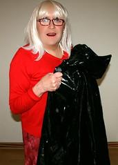 Unfurling my Black Plastic Cape (Miss Pakamac) Tags: plasticmac plasticraincoat plasticrainwear pakamac maturewoman plastic raincoat rainwear rainmac