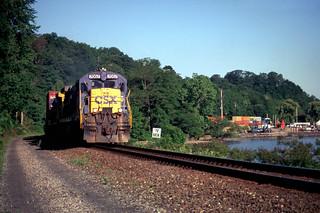 CSX C30-7 7057 south bound at MP52 in Cornwall NY, June 4, 1999
