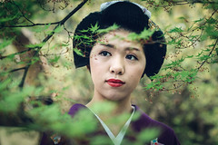 The Beauty Within (Trent's Pics) Tags: female geisha green japan kimono kyoto leaves lifestyle maiko nature people portrait trees