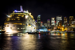 Voyager of the Seas (avaughan585) Tags: ship cruise sea voyager sydney nsw australia harbour skyscraper lights colours boats travel water long exposure