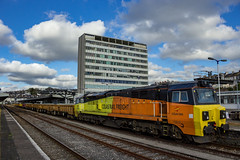 Colas Rail 70813. (Ruvaneth Unys Photography.) Tags: colas intercity block engineer class70 70813 tracks plymouth devon signalling mla waggons ballast railways railroads cloud sky house south cornish mainline loop