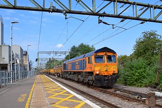 GBRf 66730 heads an infrastructure train, 6T64, 09.40 from Ruckholt Jct - Whitemoor Yard, seen at Harlow Mill, running bang on time and at speed. 08 07 2018