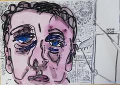 Wäre er heim gekommen (raumoberbayern) Tags: acryl malerei acrylic sketchbook skizzenblock dina1 robbilder portrait urbansketchers kohle charcoal painting
