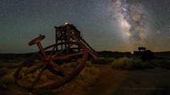 Bodie Headframe Pano (Jeffrey Sullivan) Tags: milky way night photography workshop astrophotography bodie state historic park abandoned wild west ghost town canon eos 6d digital photo copyright 2018 jeff sullivan july 7 bridgeport mono county california eastern sierra stars panorama head frame bullwheel boiler